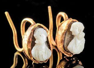 Roman 15K+ Gold Earrings w/ & Sardonyx Cameos (pr)