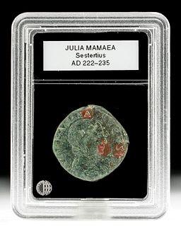 Roman Julia Mamaea Bronze Sestertius