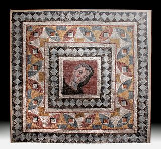 Huge Roman Mosaic - Male Portrait w/ Geometric Border