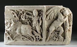 Roman Marble Sarcophagus Relief - Calydonian Hunt