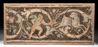 Roman Mosaic of Hunting Cupid Accounts, Glass / Stone
