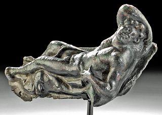 Published Roman Bronze Applique - Reclining Bacchus