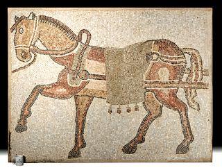 Enormous Roman Mosaic of a Striding Horse