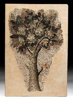Roman Stone Mosaic of a Verdant Tree