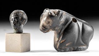 Sumerian Chlorite Bull & Egyptian Steatite Head