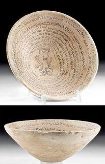 Aramaic Pottery Incantation Devil Trap Bowl w/ Demon