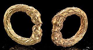 Superb Parthian 18K+ Gold Earrings w/ Lions (pr)