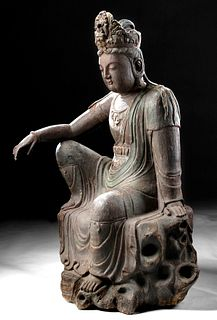 Monumental Chinese Ming Wood Bodhisattva Guanyin