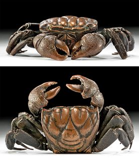 Superb Japanese Meiji Bronze Articulated Crab