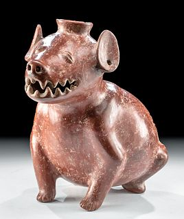 Colima Redware Dog Vessel w/ Spout & Toothy Grin
