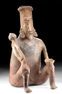 Large Jalisco Redware Seated Warrior, ex Sotheby's