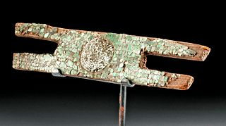 Aztec Wood & Turquoise Pendant Representing Xiutecuhtli