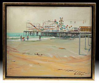 Framed & Signed Draper Painting - Atlantic City, 1940