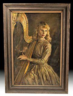 Framed, Signed Draper Portrait of Daphne Hellman, 1950