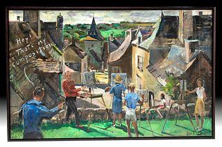 Signed, Framed Draper Painting - Brittany, France, 1962