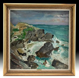 Signed, Framed W. Draper Painting - Bermuda Surf, 1968