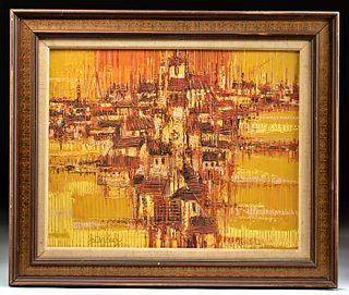 Framed & Signed Hutsaliuk Abstract Painting, 1974