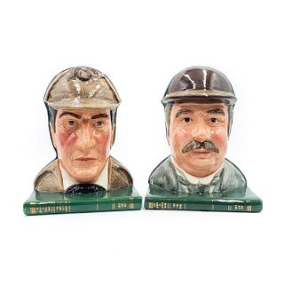 2 ROYAL DOULTON BOOKENDS, SHERLOCK AND DR. WATSON