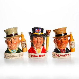3 SMALL ROYAL DOULTON CHARACTER LIQUOR CONTAINERS