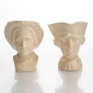 WORLDS FAIR POTTERY GEORGE & MARTHA WASHINGTON CREAMERS