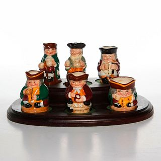 6 ROYAL DOULTON TINY TOBY JUGS WITH DISPLAY STAND