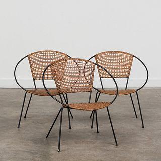 Set of Three Modern Iron and Wicker Child's Chairs
