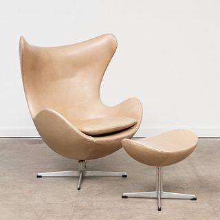 Arne Jacobsen Aluminum and Leather 'Egg' Chair with Ottoman
