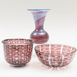 Three Internally Decorated Glass Vessels