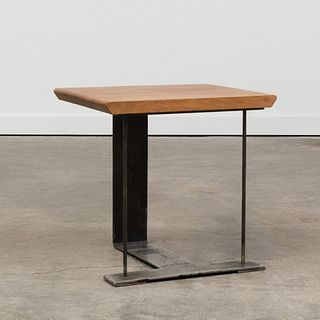 Pierre Chareau Style Iron and Walnut Side Table