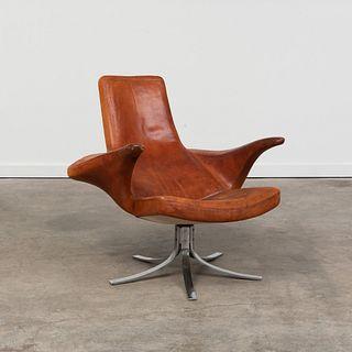 Gosta Berg and Stenerik Eriksson Chrome and Leather 'Seagull' Swivel Chair, for Fritz Hansen