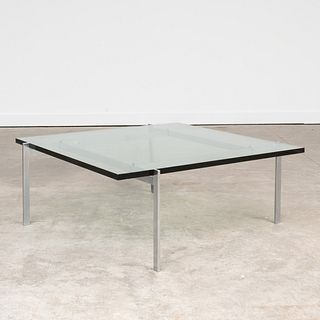 Poul Kjaerholm Chrome and Glass Coffee Table, for Fritz Hansen
