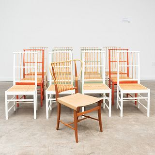 Assembled Set of Twelve Josef Frank Painted Wood, Bamboo and Cane Chairs and a Bamboo and Leather Chair