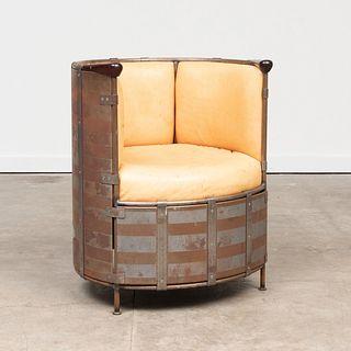 Mats Theselius Mixed Metal and Moose Hide 'Algskinnsfatolj' Chair, for Kallemo