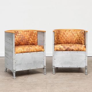 Two Mats Theselius Aluminum and Woven Wood 'Fatolj' Chairs, for Kallemo
