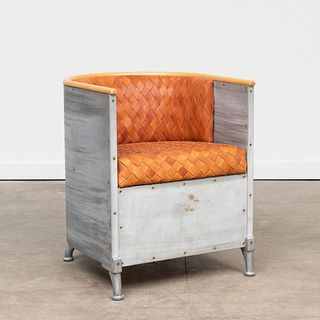 Mats Theselius Aluminum and Woven Leather 'Fatolj' Chair, for Kallemo