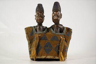 Pair Of Yoruba Ibeji Twin Figures With Beaded Costume