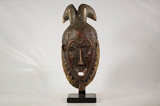 Baule or Yaure Horned Mask with Stand