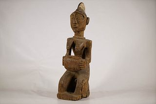 Kneeling Yoruba Female Figure with Offering Bowl