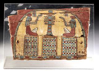 Egyptian Painted Gesso & Linen Wood Panel - Djed Pillar