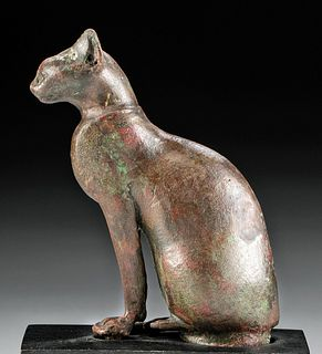 Stunning Egyptian Late Dynastic Bronze Figure of Cat