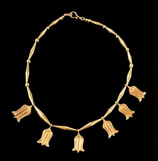 Romano-Egyptian 20K+ Gold Necklace, Lotus Flowers 23 g
