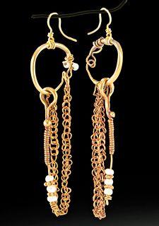 Roman 20K+ Gold & Pearl Earrings - Wearable!