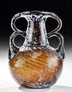 Fine Roman Glass Sprinkler Flask w/ Twin Handles