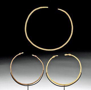 Group of 3 Celtic 20K+ Gold Torqs - Art Loss Certs.