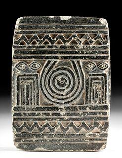 Important Sumerian Steatite Temple Stele w/ Eye Idols
