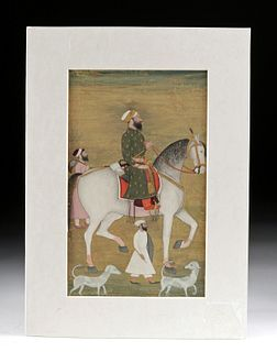 19th C. Mughal Miniature Painting - Prince on Horse