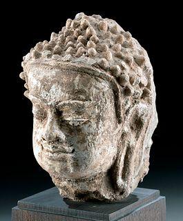Thai Haripunjaya Stucco Head of Buddha, ex-Sothebys