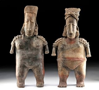 Tall Pair Jalisco San Juanito Pottery Standing Females