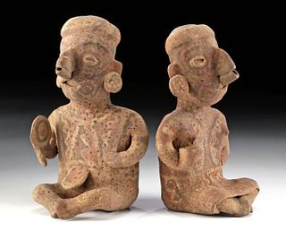 Matched Pair Nayarit Ixtlan Del Rio Polychrome Figures