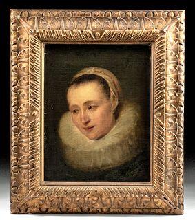 Framed 17th C. Flemish Portrait after Van Dyck
